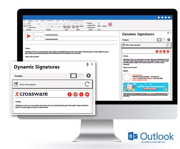 Dynamic Signatures is Crossware's Add-In for Microsoft Exchange
